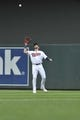 Sep 22, 2019; Minneapolis, MN, USA;  Minnesota Twins right fielder Jake Cave (60) makes the second out during the second inning against the Kansas City Royals at Target Field. Mandatory Credit: Marilyn Indahl-USA TODAY Sports