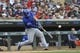 Sep 22, 2019; Minneapolis, MN, USA;  Kansas City Royals catcher Nick Dini (33) hits a home run during the second inning against the Minnesota Twins at Target Field. Mandatory Credit: Marilyn Indahl-USA TODAY Sports