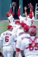 Sep 24, 2019; Washington, DC, USA; Washington Nationals left fielder Juan Soto (22), Nationals center fielder Victor Robles (16), and Nationals right fielder Adam Eaton (2) celebrate in the outfield after their game against the Philadelphia Phillies at Nationals Park. Mandatory Credit: Geoff Burke-USA TODAY Sports