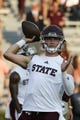 Sep 28, 2019; Auburn, AL, USA;  Mississippi State Bulldogs quarterback Tommy Stevens (7) throws during warmups before game between the Auburn Tigers and the Mississippi State Bulldogs at Jordan-Hare Stadium. Mandatory Credit: John Reed-USA TODAY Sports