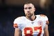 Sep 29, 2019; Detroit, MI, USA; Kansas City Chiefs tight end Travis Kelce (87) warms up before the game against the Detroit Lions at Ford Field. Mandatory Credit: Tim Fuller-USA TODAY Sports