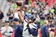 Sep 29, 2019; Glendale, AZ, USA; Seattle Seahawks quarterback Geno Smith (7) warms up prior to the game against the Arizona Cardinals at State Farm Stadium. Mandatory Credit: Matt Kartozian-USA TODAY Sports