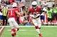 Sep 29, 2019; Glendale, AZ, USA; Arizona Cardinals quarterback Kyler Murray (1) hands off to running back Chase Edmonds (29) during the first half against the Seattle Seahawks at State Farm Stadium. Mandatory Credit: Matt Kartozian-USA TODAY Sports