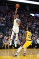 October 5, 2019; San Francisco, CA, USA; Golden State Warriors forward Alfonzo McKinnie (28) shoots the basketball against Los Angeles Lakers forward Troy Daniels (30) during the third quarter at Chase Center. Mandatory Credit: Kyle Terada-USA TODAY Sports