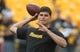 Oct 6, 2019; Pittsburgh, PA, USA;  Pittsburgh Steelers quarterback Mason Rudolph (2) warms up before playing the Baltimore Ravens at Heinz Field. Mandatory Credit: Charles LeClaire-USA TODAY Sports