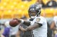 Oct 6, 2019; Pittsburgh, PA, USA; Baltimore Ravens quarterback Lamar Jackson (8) warms up before a game against the Pittsburgh Steelers at Heinz Field. Mandatory Credit: Philip G. Pavely-USA TODAY Sports