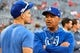 Oct 7, 2019; Washington, DC, USA; Los Angeles Dodgers manager Dave Robert's (right) speaks with second baseman Enrique Hernandez (14) prior to game four of the 2019 NLDS playoff baseball series against the Washington Nationals at Nationals Park. Mandatory Credit: Brad Mills-USA TODAY Sports