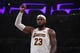 Oct 16, 2019; Los Angeles, CA, USA; Los Angeles Lakers forward LeBron James (23) gesturesl against the Golden State Warriors in the second half half at Staples Center. The Lakers defeated the Warriors 126-93. Mandatory Credit: Kirby Lee-USA TODAY Sports