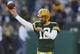Oct 20, 2019; Green Bay, WI, USA; Green Bay Packers quarterback Aaron Rodgers (12) throws a pass during warmups prior to the game against the Oakland Raiders at Lambeau Field. Mandatory Credit: Jeff Hanisch-USA TODAY Sports