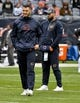 Oct 20, 2019; Chicago, IL, USA; Chicago Bears quarterback Mitchell Trubisky (10), left, and Chicago Bears quarterback Chase Daniel (4) during warm ups before the game against the New Orleans Saints at Soldier Field. Mandatory Credit: Matt Marton-USA TODAY Sports