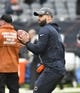 Oct 20, 2019; Chicago, IL, USA; Chicago Bears quarterback Chase Daniel (4) during warm ups before the game against the New Orleans Saints at Soldier Field. Mandatory Credit: Matt Marton-USA TODAY Sports