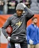 Oct 20, 2019; Chicago, IL, USA; New Orleans Saints quarterback Teddy Bridgewater (5) warms up before the game against the Chicago Bears at Soldier Field. Mandatory Credit: Matt Marton-USA TODAY Sports