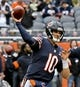 Oct 20, 2019; Chicago, IL, USA; Chicago Bears quarterback Mitchell Trubisky (10) warms up before the game against the New Orleans Saints at Soldier Field. Mandatory Credit: Matt Marton-USA TODAY Sports