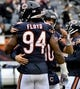 Oct 20, 2019; Chicago, IL, USA; Chicago Bears outside linebacker Leonard Floyd (94) and Chicago Bears quarterback Mitchell Trubisky (10) warms up before the game against the New Orleans Saints at Soldier Field. Mandatory Credit: Matt Marton-USA TODAY Sports
