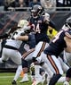 Oct 20, 2019; Chicago, IL, USA; Chicago Bears wide receiver Cordarrelle Patterson (84) runs against the New Orleans Saints in the first half at Soldier Field. Mandatory Credit: Matt Marton-USA TODAY Sports