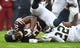 Oct 20, 2019; Chicago, IL, USA; Chicago Bears running back Tarik Cohen (29) is tackled by New Orleans Saints defensive back Chauncey Gardner-Johnson (22) during the first half at Soldier Field. Mandatory Credit: Mike DiNovo-USA TODAY Sports