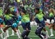 Oct 20, 2019; Seattle, WA, USA; Seattle Seahawks  male and female cheerleaders dance in the first half against the Baltimore Ravens at CenturyLink Field. Mandatory Credit: Kirby Lee-USA TODAY Sports