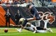 Oct 20, 2019; Chicago, IL, USA; New Orleans Saints defensive back J.T. Gray (48) attempts to recover a blocked punt on Chicago Bears punter Pat O'Donnell (16) during the first half at Soldier Field. Mandatory Credit: Mike DiNovo-USA TODAY Sports