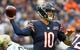 Oct 20, 2019; Chicago, IL, USA; Chicago Bears quarterback Mitchell Trubisky (10) drops back to pass against the New Orleans Saints during the first half at Soldier Field. Mandatory Credit: Mike DiNovo-USA TODAY Sports