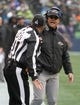Oct 20, 2019; Seattle, WA, USA; Baltimore Ravens head coach John Harbaugh argues with down judge referee Jim Mello (48) in the second quarter against the Seattle Seahawks at CenturyLink Field. Mandatory Credit: Kirby Lee-USA TODAY Sports