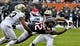 Oct 20, 2019; Chicago, IL, USA; Chicago Bears wide receiver Allen Robinson (12) has a pass broken up by New Orleans Saints cornerback Marshon Lattimore (23) and New Orleans Saints defensive back Saquan Hampton (33) during the first half at Soldier Field. Mandatory Credit: Matt Marton-USA TODAY Sports