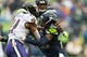 Oct 20, 2019; Seattle, WA, USA; Seattle Seahawks cornerback Shaquill Griffin (26) tackles Baltimore Ravens running back Mark Ingram (21) during the second half at CenturyLink Field. Baltimore defeated Seattle 30-16. Mandatory Credit: Steven Bisig-USA TODAY Sports