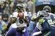Oct 20, 2019; Seattle, WA, USA; Baltimore Ravens quarterback Lamar Jackson (8) looks to pass against the Seattle Seahawks during the second quarter at CenturyLink Field. Mandatory Credit: Joe Nicholson-USA TODAY Sports