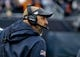 Oct 20, 2019; Chicago, IL, USA; Chicago Bears head coach Matt Nagy yells against the New Orleans Saints during the second half at Soldier Field. Mandatory Credit: Matt Marton-USA TODAY Sports