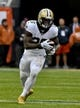 Oct 20, 2019; Chicago, IL, USA; New Orleans Saints running back Latavius Murray (28) runs against the Chicago Bears during the first half at Soldier Field. Mandatory Credit: Matt Marton-USA TODAY Sports