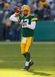 Oct 20, 2019; Green Bay, WI, USA; Green Bay Packers quarterback Aaron Rodgers (12) during warmups prior to the game against the Oakland Raiders at Lambeau Field. Mandatory Credit: Jeff Hanisch-USA TODAY Sports