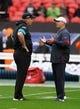 Nov 3, 2019; London, United Kingdom; Houston Texans head coach Bill O'Brien (right) talks with Jacksonville Jaguars head coach Doug Marrone before a NFL International Series game at Wembley Stadium. Mandatory Credit: Kirby Lee-USA TODAY Sports