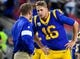 Nov 17, 2019; Los Angeles, CA, USA; Los Angeles Rams head coach Sean McVay (left) chats with Los Angeles Rams quarterback Jared Goff (16) during pregame warmups before their game against the Chicago Bears at Los Angeles Memorial Coliseum. Mandatory Credit: Robert Hanashiro-USA TODAY Sports
