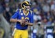 November 17, 2019; Los Angeles, CA, USA; Los Angeles Rams quarterback Jared Goff (16) moves out to pass against the Chicago Bears during the first half at the Los Angeles Memorial Coliseum. Mandatory Credit: Gary A. Vasquez-USA TODAY Sports
