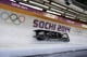 Feb 23, 2014; Krasnaya Polyana, RUSSIA; (From right to left) USA-1 team of Steven Holcomb, Curtis Tomasevicz, Steven Langton, and Christopher Fogt compete in the final run of four-man bobsleigh during the Sochi 2014 Olympic Winter Games at Sanki Sliding Center. USA-1 won bronze. Mandatory Credit: Andrew P. Scott-USA TODAY Sports