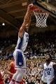 Nov 15, 2014; Durham, NC, USA; Duke Blue Devils center Jahlil Okafor (15) dunks against the Fairfield Stags in their game at Cameron Indoor Stadium. Mandatory Credit: Mark Dolejs-USA TODAY Sports