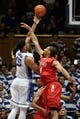 Nov 15, 2014; Durham, NC, USA; Duke Blue Devils center Jahlil Okafor (15) shoots over Fairfield Stags center Malcolm Gilbert (44) in their game at Cameron Indoor Stadium. Mandatory Credit: Mark Dolejs-USA TODAY Sports