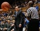 Nov 15, 2014; Durham, NC, USA; Duke Blue Devils head coach Mike Krzyzewski reacts to a call by the officials in their game against the Fairfield Stags at Cameron Indoor Stadium. Mandatory Credit: Mark Dolejs-USA TODAY Sports