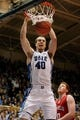 Nov 15, 2014; Durham, NC, USA; Duke Blue Devils center Marshall Plumlee (40) dunks over Fairfield Stags forward Kevin Degnan (40) in their game at Cameron Indoor Stadium. Mandatory Credit: Mark Dolejs-USA TODAY Sports