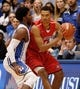 Nov 15, 2014; Durham, NC, USA; Fairfield Stags forward Marcus Gilbert (14) drives the ball against Duke Blue Devils forward Justise Winslow (12) in their game at Cameron Indoor Stadium. Mandatory Credit: Mark Dolejs-USA TODAY Sports