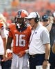 Sep 5, 2015; Champaign, IL, USA; Illinois Fighting Illini head coach Bill Cubit has a discussion with wide receiver Marchie Murdock (16) at Memorial Stadium. Illinois beat Kent State 52-3.  Mandatory Credit: Mike Granse-USA TODAY Sports