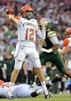 Sep 5, 2015; Tampa, FL, USA; [Florida A & M Rattlers  quarterback Carson Royal (12)   throws the ball in the first half against the South Florida Bulls at Raymond James Stadium. Mandatory Credit: Jonathan Dyer-USA TODAY Sports