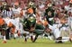 Sep 5, 2015; Tampa, FL, USA; South Florida Bulls quarterback Quentin Flowers (9) dives for the end zone during the half against the Florida A & M Rattlers at Raymond James Stadium. Mandatory Credit: Jonathan Dyer-USA TODAY Sports
