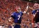 Sep 5, 2015; Gainesville, FL, USA; Florida Gators quarterback Will Grier (7) is congratulated as he runs the ball in for a touchdown against the New Mexico State Aggies during the second quarter at Ben Hill Griffin Stadium. Mandatory Credit: Kim Klement-USA TODAY Sports