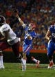 Sep 5, 2015; Gainesville, FL, USA; Florida Gators quarterback Will Grier (7) throws the ball against the New Mexico State Aggies during the second quarter at Ben Hill Griffin Stadium. Mandatory Credit: Kim Klement-USA TODAY Sports