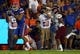 Sep 5, 2015; Gainesville, FL, USA; Florida Gators tight end DeAndre Goolsby (30) runs with the ball against the New Mexico State Aggies during the second quarter at Ben Hill Griffin Stadium. Mandatory Credit: Kim Klement-USA TODAY Sports