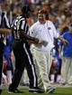 Sep 5, 2015; Gainesville, FL, USA; Florida Gators head coach Jim McElwain reacts to the referee against the New Mexico State Aggies during the second quarter at Ben Hill Griffin Stadium. Mandatory Credit: Kim Klement-USA TODAY Sports