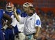 Sep 5, 2015; Gainesville, FL, USA; Florida Gators head coach Jim McElwain reacts against the New Mexico State Aggies during the second quarter at Ben Hill Griffin Stadium. Mandatory Credit: Kim Klement-USA TODAY Sports