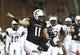 Sep 5, 2015; Cincinnati, OH, USA; Cincinnati Bearcats quarterback Gunner Kiel (11) reacts to throwing a touchdown in the first half against the Alabama A&M Bulldogs at Nippert Stadium. Mandatory Credit: Aaron Doster-USA TODAY Sports