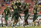 Sep 5, 2015; Tampa, FL, USA; Members of the South Florida Bulls celebrate an interception in the second half  against the Florida A & M Rattlers at Raymond James Stadium. The South Florida Bulls defeated the Florida A & M Rattlers 51-3. Mandatory Credit: Jonathan Dyer-USA TODAY Sports