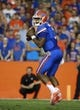 Sep 5, 2015; Gainesville, FL, USA Florida Gators quarterback Treon Harris (3) drops back against the New Mexico State Aggies during the first quarter at Ben Hill Griffin Stadium. Mandatory Credit: Kim Klement-USA TODAY Sports